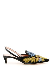 VELVET SLINGBACKS WITH EMBROIDERY