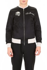SATIN BOMBER JACKET WITH EMBROIDERY